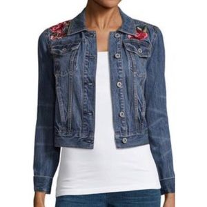 Ana Floral Embroidered Crop Jean Jacket Small